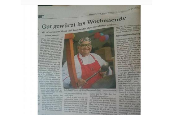 Kuliner Indonesia menjadi highlight di surat kabar Jerman, Frankfurter. (Sumber: Instagram Pulau Imaji)